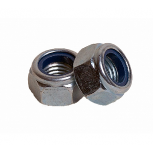 Гайка М6 белый цинк шестигранная со стопорным кольцом Бифаст DIN 985